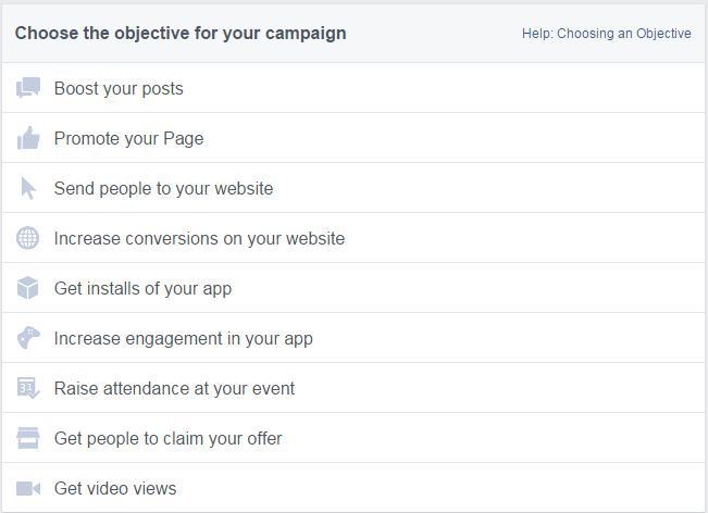 Stabilirea obiectivelor in campaniile Facebook